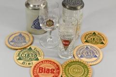 BIAG-Bierdeckel von 1920-1940, Gläser und Krüge